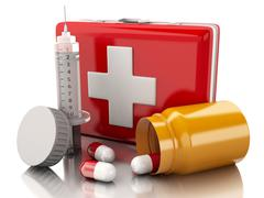 3D first aid kit, syringe and pills - stock illustration