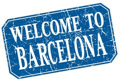welcome to Barcelona blue square grunge stamp - stock illustration