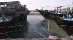 Loading dhows near Bandar Abbas, Southern Iran (2).mp4 Stock Footage