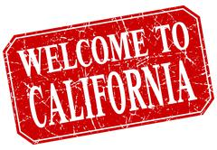 welcome to California red square grunge stamp - stock illustration