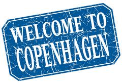 welcome to Copenhagen blue square grunge stamp - stock illustration