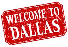 welcome to Dallas red square grunge stamp - stock illustration