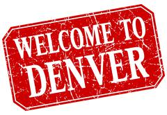 welcome to Denver red square grunge stamp - stock illustration