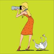 Girl photographer and geese in nature - stock illustration