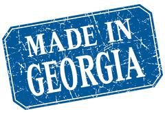made in Georgia blue square grunge stamp - stock illustration
