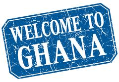 Stock Illustration of welcome to Ghana blue square grunge stamp