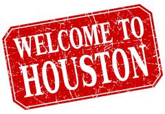 welcome to Houston red square grunge stamp - stock illustration