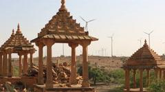 Historical Bada Bagh ( Barabagh ) royal Cenotaphs and windmills of Jaisalmer Stock Footage