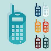 Flat design: old mobile phone Stock Illustration