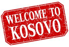 Stock Illustration of welcome to Kosovo red square grunge stamp