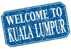 welcome to Kuala Lumpur blue square grunge stamp - stock illustration