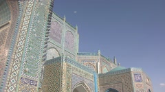 Mazar-e Sharif, shrine of Hazrat Ali, pan left, Afghanistan.mp4 Stock Footage