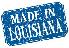 made in Louisiana blue square grunge stamp - stock illustration