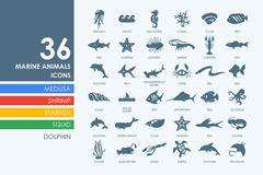 Stock Illustration of Set of marine animals icons
