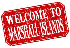 Stock Illustration of welcome to Marshall Islands red square grunge stamp