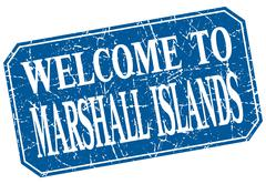 welcome to Marshall Islands blue square grunge stamp - stock illustration