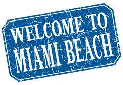 welcome to Miami Beach blue square grunge stamp - stock illustration