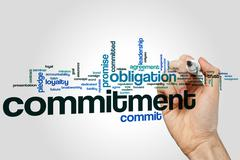 Commitment word cloud - stock photo