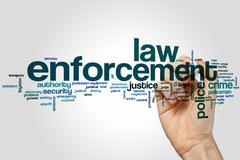 Law enforcement word cloud - stock photo