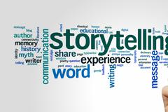 Storytelling word cloud Stock Photos