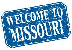 welcome to Missouri blue square grunge stamp - stock illustration