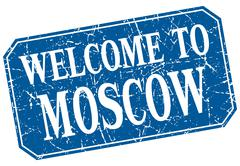 Welcome to Moscow blue square grunge stamp Stock Illustration