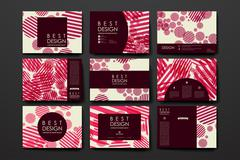 Set of modern design banner template in abstract background style - stock illustration