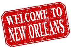 Welcome to New Orleans red square grunge stamp Stock Illustration
