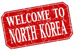 welcome to North Korea red square grunge stamp - stock illustration