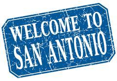 welcome to San Antonio blue square grunge stamp - stock illustration