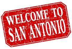 welcome to San Antonio red square grunge stamp - stock illustration