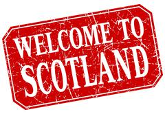 welcome to Scotland red square grunge stamp - stock illustration