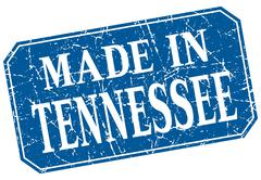 made in Tennessee blue square grunge stamp - stock illustration