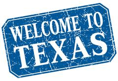 welcome to Texas blue square grunge stamp - stock illustration