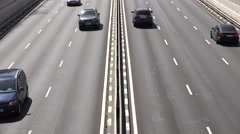 4K Aerial view traffic car freeway Spanish transportation highway infrastructure Stock Footage