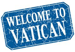 welcome to Vatican blue square grunge stamp - stock illustration