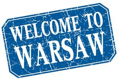 welcome to Warsaw blue square grunge stamp - stock illustration