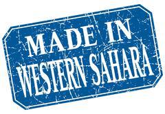 made in Western Sahara blue square grunge stamp - stock illustration