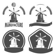 Production mill, manufacturing, design elements Stock Illustration