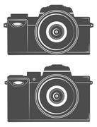 flat compact camera, photography, big lens - stock illustration