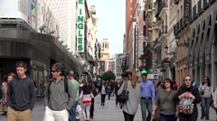 4K Timelapse crowded commercial street Madrid shopping district shop sign day    Stock Footage