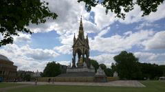 View of The famous Albert Memorial in Kensington Gardens in London Stock Footage