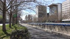4K Traffic car suburban boulevard Madrid residential district people travel road Stock Footage