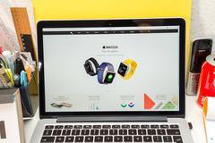 PARIS, FRANCE - MARCH 21, 2016: Apple Computers website on MacBook Pro Retina - stock photo