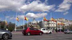 4K Timelapse heavy traffic car roundabout Madrid city center large avenue place  Stock Footage