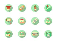 Pharmaceutical products round color vector icons Stock Illustration