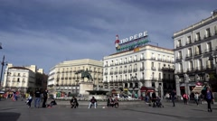 4K Timelapse pedestrian people walk Puerta del Sol Madrid iconic place square  Stock Footage