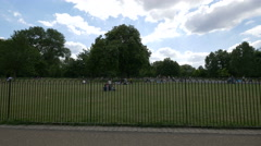 Diana Princess Memorial Fountain behind a fence in London Stock Footage