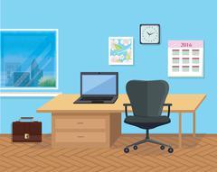 Interior Office Room. Illustration for Design - stock illustration