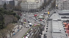 4K Aerial view heavy traffic car Alcala boulevard crowded Madrid downtown emblem - stock footage